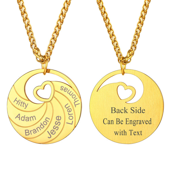 Engraved Name Family Round Pendant Necklace Personalized 2/3/4/5/6 Names Plate