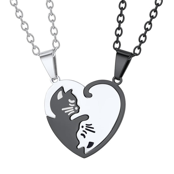 Personalized Engraved Cat Heart BFF Puzzle Couple Necklace For Lover