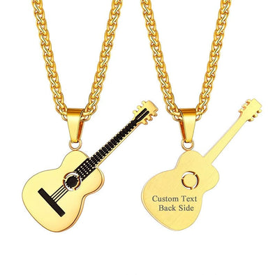 Personalized Handmade Acoustic Guitar Necklace Custom Musical Jewelry