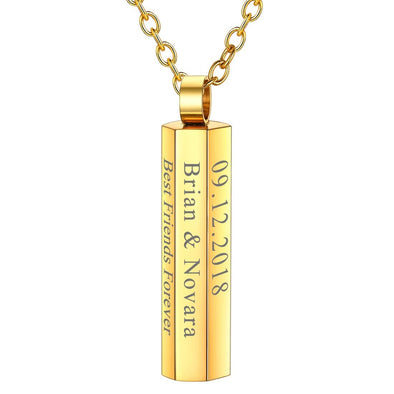Custom Personalized Engraving 18k Gold Plated Six-Sided Square Pillar Vertical Bar Pendant Necklace for Men and Women