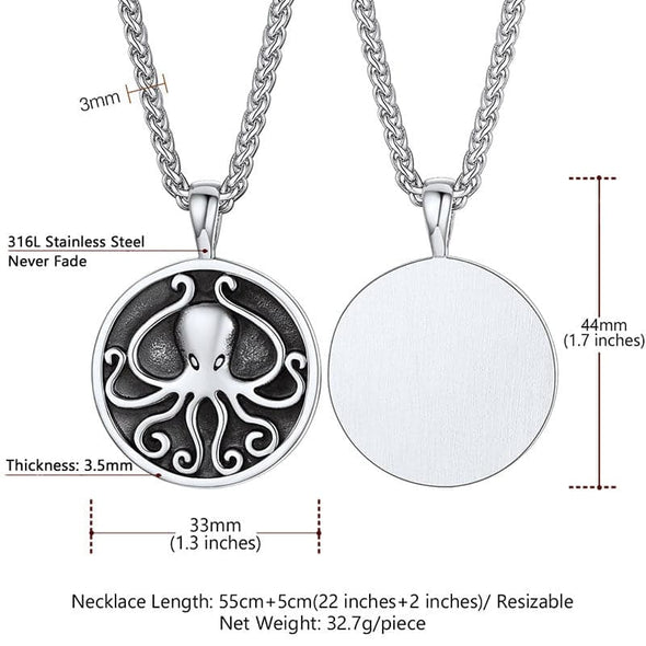 Vintage Handmade Octopus Round Medal Totem Pendant Necklace For Men and Women