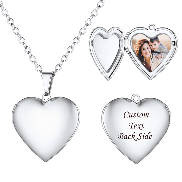 Personalized Engraving Heart Custom Photo Locket Pendant Necklace