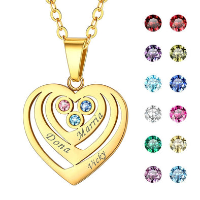 Personalized Birthstone Heart Necklace with Engraved Names