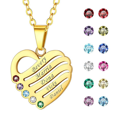 Personalized Heart Necklace with 2-5 Engravable Names and Birthstones 18K Gold Plated