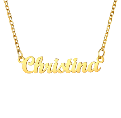 Personalized Classic Name Necklace 18K Gold Plated Stainless Steel Choker 18K Gold Plated