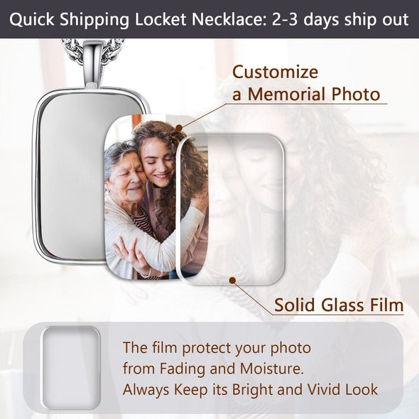 Personalized Classic Engraving Convex Custom Photo Pendent Necklace