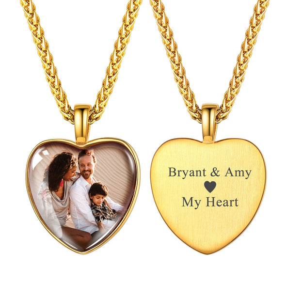 Personalized Engravable Heart Convex Custom Photo Pendent Necklace 18K Gold Plated