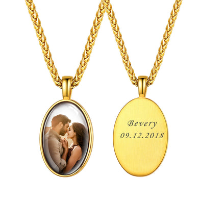Personalized Engravable Oval Convex Custom Photo Pendent Necklace 18K Gold Plated