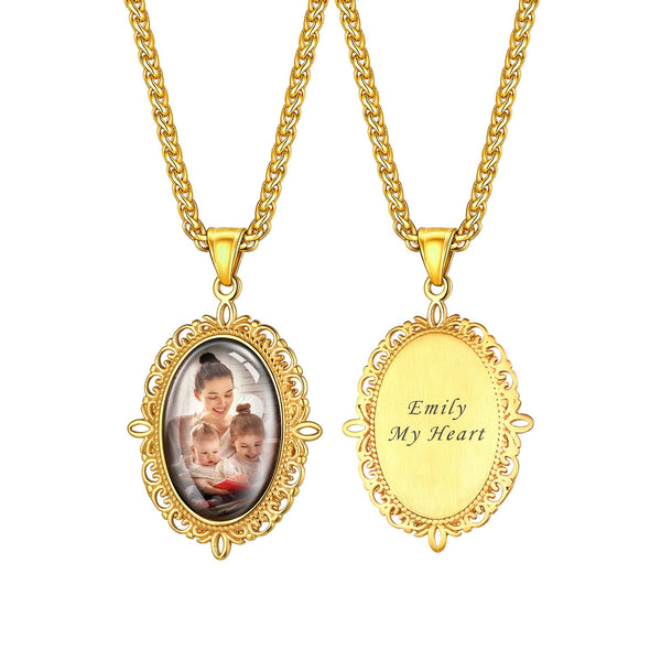 Personalized Engravable Convex Oval Custom Photo Pendent Necklace 18K Gold Plated