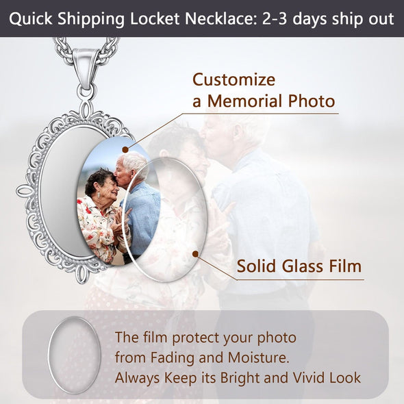 Personalized Engravable Convex Oval Custom Photo Pendent Necklace