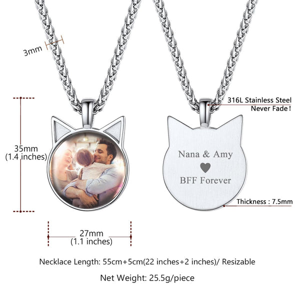 Personalized Disc Convex Engravable Custom Photo Pendant Necklace