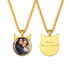 Personalized Disc Convex Engravable Custom Photo Pendent Necklace 18K Gold Plated