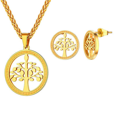 Round Hollow Tree Of Life Pendant Necklace Earring Wedding Jewelry Sets