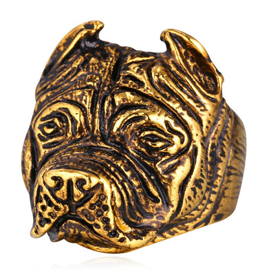 Bully Pitbull Ring 18K Gold Plated Dog Jewelry For Men Rapper Punk