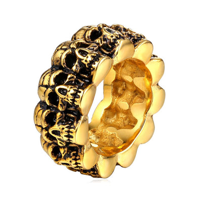 Skull Band Ring 18K Gold Plated Gothic Punk Rock Style Skeleton For Men Halloween