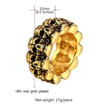 Skull Band Ring Gold Gothic Punk Skeleton Ring For Men Halloween Gift