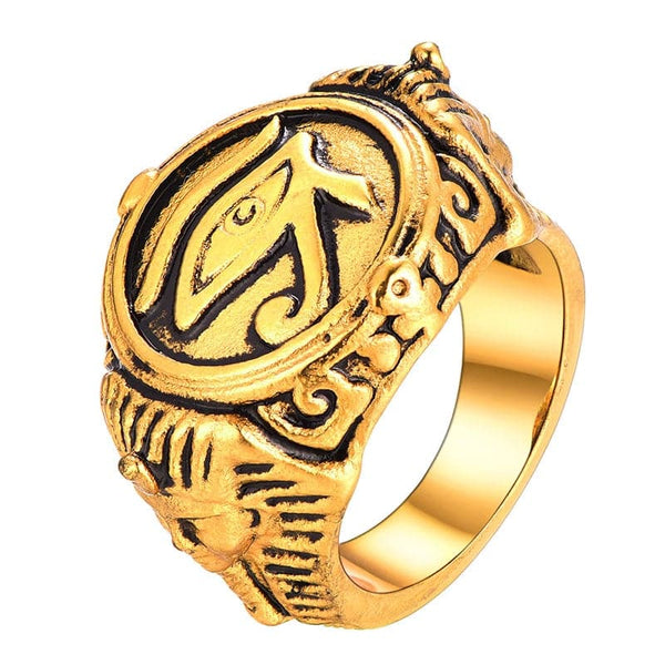 Gold Plated Egyptian Eyes Of Horus Amulet Ring With Pharaoh Pattern