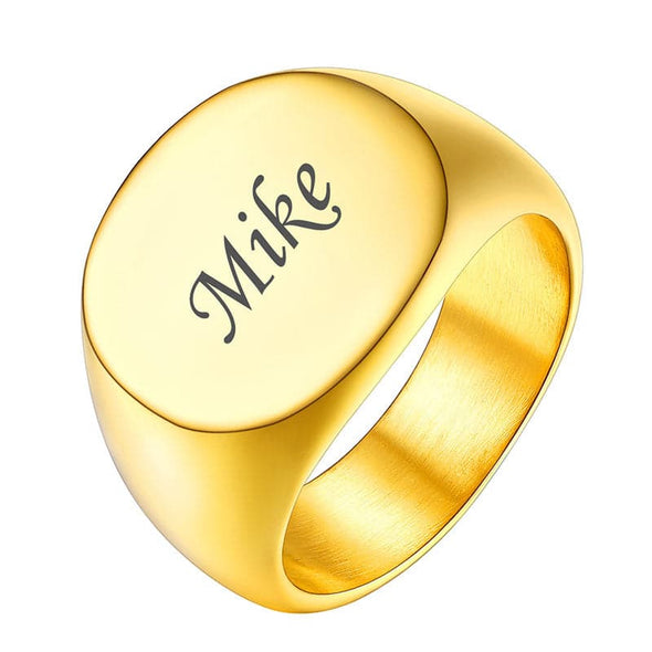 18k Gold Plated Custom Personalized Engraving Signet Ring Initial Ring For Men And Women