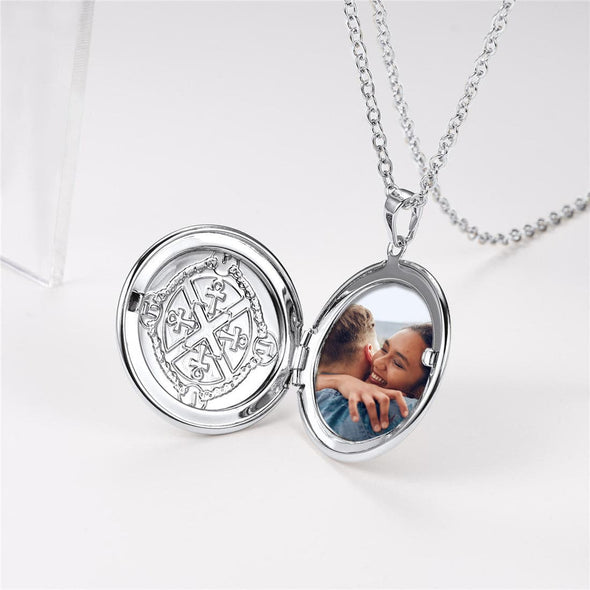 Round Ankh Photo Locket Necklace Egyptian Cross Pendant For Women