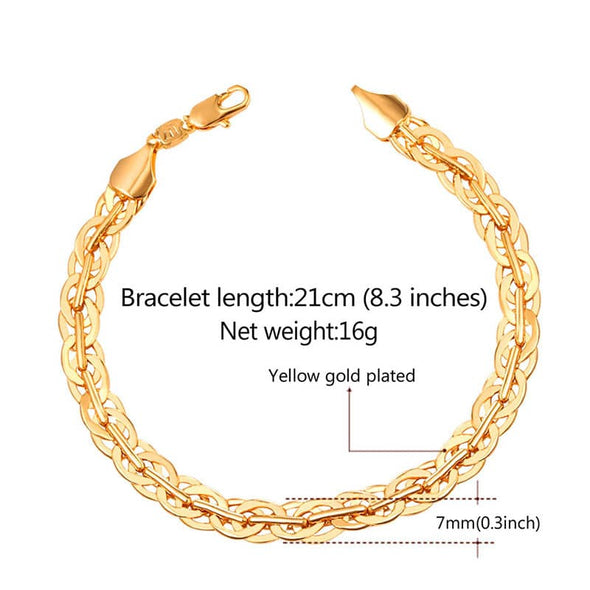 7MM Wide 18K Gold Plated Woven Chain Bracelet For Men Hip Hop Jewelry
