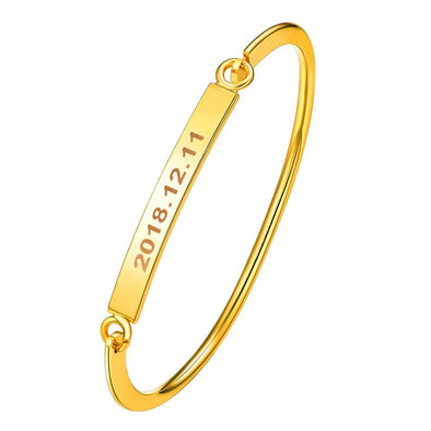 Dainty Engraving Customized Name ID Date 18K Gold/Rose Gold/Platinum Plated Openable Personalized Skinny Bangle Identification Bracelet For Women