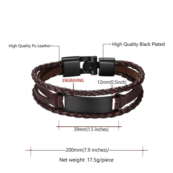 Unisex Trendy Fashion Personalized Custom Engraving Handmade Multi-Layer Black/Brown/White Leather Rope Cuff Bracelet With High Polished Environmentally Friendly Aluminum Alloy Engraved ID Bar