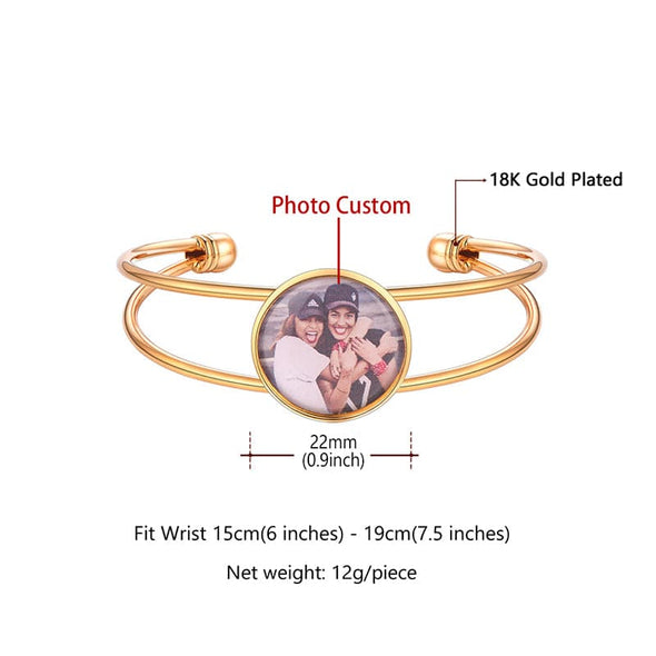 Personalized Round Custom Photo Charm Bangle Bracelet with Open Cuff
