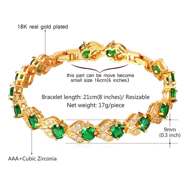 Classic 18K Gold/Platinum Plated 9MM Wide Round Cut AAA+ Cubic Zirconia Tennis Bracelet Green/White/Red/Blue Colorful Birthstone Crystal Link Bracelet For Women Girls