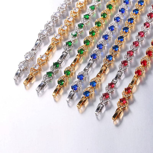 18K Gold Plated Fashion Jewelry Emerald Cubic Zirconia Charm Bracelet For Women Gift