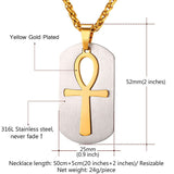 Ankh Key To Life Egypt Cross Pendants Necklaces Stainless Steel Dog Tag Jewelry For Men
