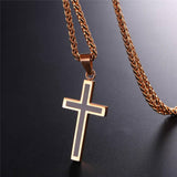 Religious Christian Black Cross Necklace For Men Jewelry Stainless Steel 18K Gold Plated
