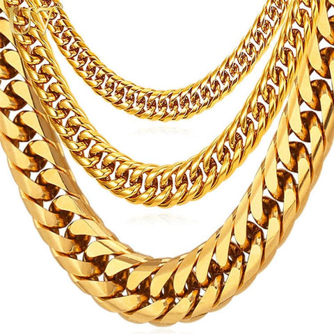 Miami Cuban Link Chain Hip Hop Men's Jewelry Gold Plated Chains Long Chunky Necklace
