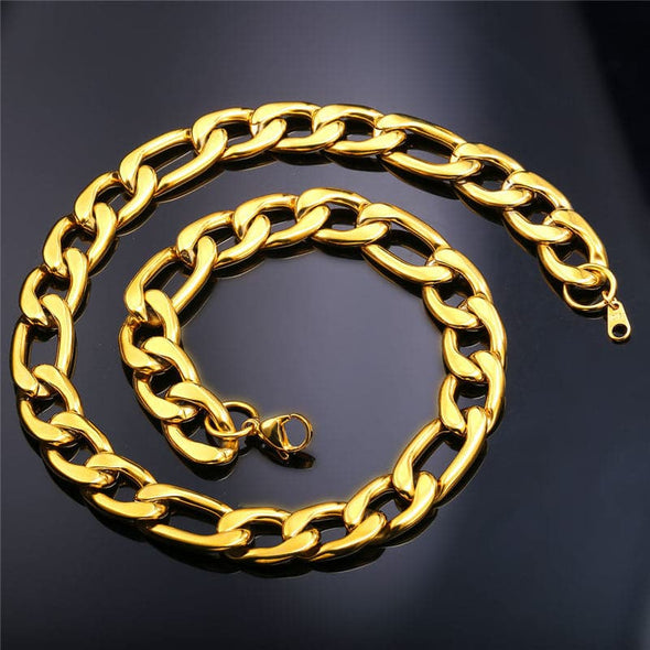 Engravable Figaro Necklace Personalized 18K Gold Plated Chain For Men Women