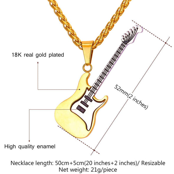 Rock Hip Hop Unisex Personalized Custom 316L Stainless Steel 18K Gold Black Plated Lonplating Blue Four Colors Guitar Pick Removable Pendant Music Spiga Rope Chain Necklace With 2 Inches Extending Chain For Guitar Fan
