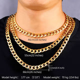 Chunky Necklace For Men 11MM Thick Gold Plated Cuban Link Chain Collier Steampunk Jewelry