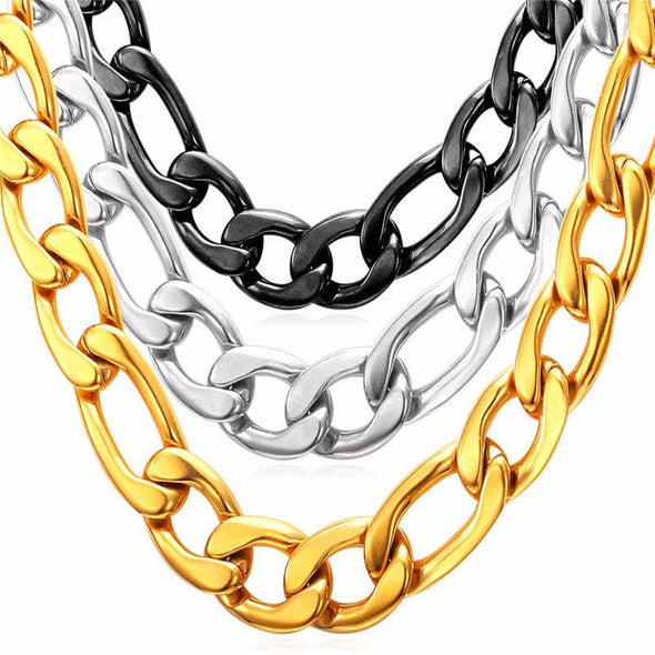 12MM 18K Gold Chain for Men Figaro Chain Stainless Steel Chain Necklace