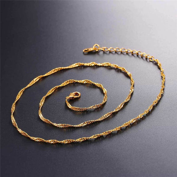 2MM Wide DIY Water-wave Chain For Pendant Chain Necklaces For Women
