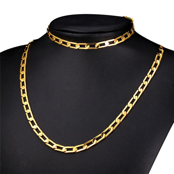 Gold chain for men hiphop classic 18k gold/rose gold/platinum plated 6mm wide flat cuban chain necklace and bracelet