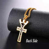 Crown Jesus Cross Necklace For Men/Women The Crucifixion Christian Jewelry