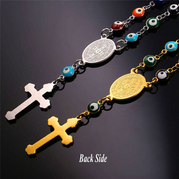 Turkish Jewelry Evil Eye Necklaces For Men/Women Rosary Cross Charm NecklaceEvil Eye Cross Charm Necklace Bracelet Rosary Beads Jewelry for Women