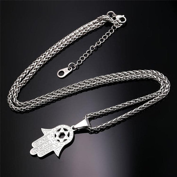 Hamsa Hand Of God Star Of David Necklace Jewish Hand Religious Jewelry