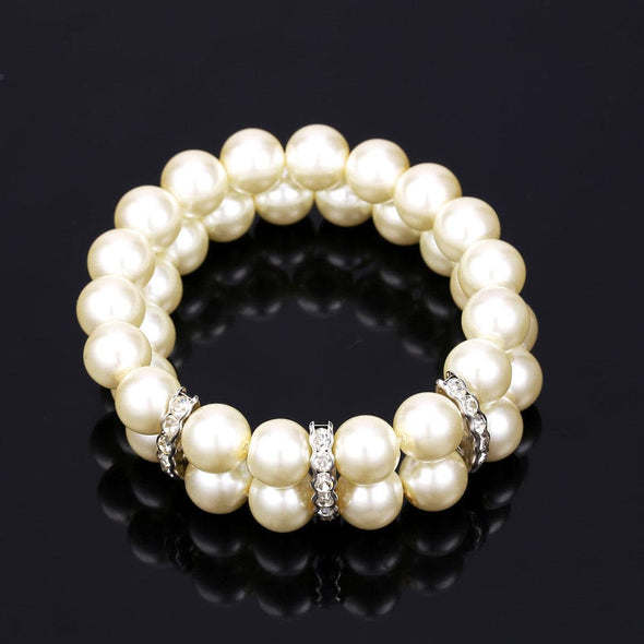 Elegant Two Layer High Quality Big White Synthetic Pearl Beads Strand Charm Bracelet Platinum Plated Embedded With Austrian Rhinestone Bangle For Women Girls