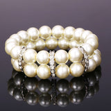 Pearl Bracelet For Women Platinum Plated With Rhinestone Multi Layer Round White Pearl Jewelry