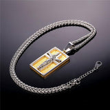 Jesus Cross Necklace Stainless Steel Two Tone Gold Plated Square Pendants & Chain Christian Jewelry