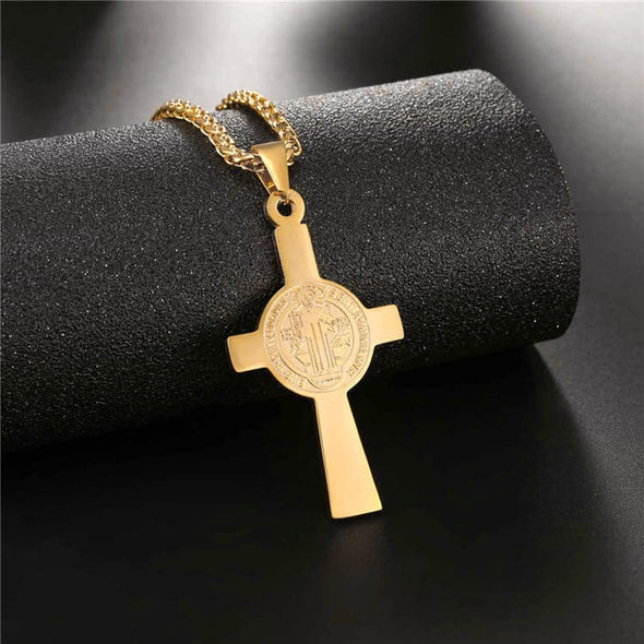 Saint Benedict Cross Pendant Necklaces Christian Religious Jewelry