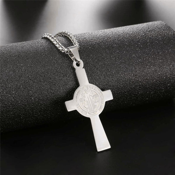 Custom Saint Benedict Cross Pendant Necklace Christian Jewelry For Men