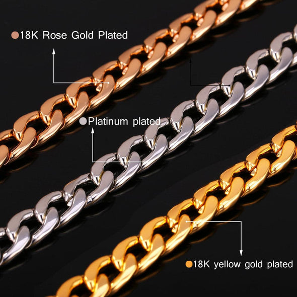 18K Gold Plated Curb Cuban Link Chain Chunky Men Necklace
