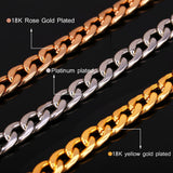 7MM Chunky Gold/Black/Platinum/Rose Gold Necklace Plated Curb Cuban Link Chain Men