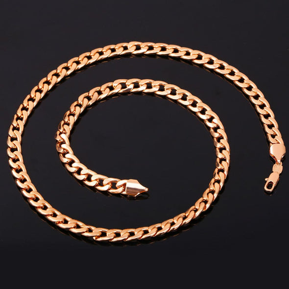 7MM Chunky Gold/Black/Platinum/Rose Gold Necklace Plated Curb Cuban Link Chain Necklaces