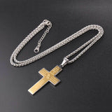 Praying Hands Cross Necklace 316L Stainless Steel Jesus Bible Jewelry